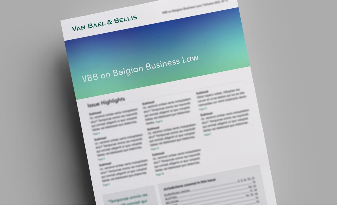 VBB on Belgian Business Law, Volume 2018, No. 09